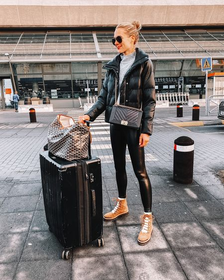 Fashion Jackson, puffer jacket, faux leather leggings, winter boots, fall jacket, fall outfit, winter outfit, airport outfit, travel outfit http://liketk.it/2ZJMg #liketkit @liketoknow.it #LTKstyletip #LTKunder100 #LTKtravel