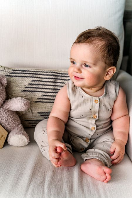 Baby boy, baby girl, baby neutral, baby jumpsuit, woven sleeveless one-piece jumpsuit with buttons. Toddler jumpsuit. Fall family photos, fall baby outfits.   #LTKkids #LTKbaby #LTKunder50