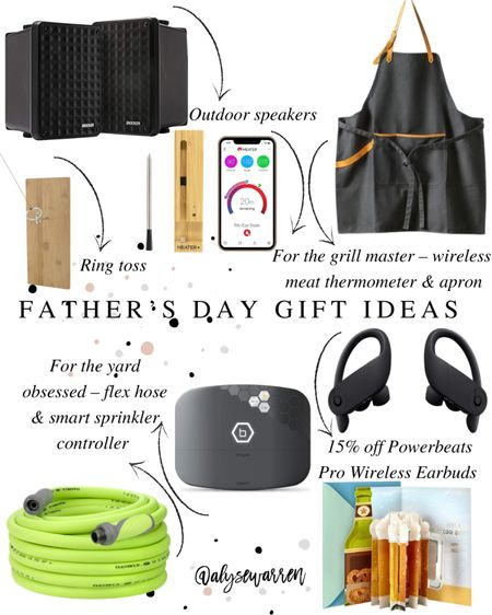 Father's Day gift ideas with quick shipping!   Outdoor speaker, wireless meat thermometer, ring toss patio game, Hearth & Hand by Magnolia grilling apron, flex non-kink garden hose, Amazon finds, wireless sprinkler control, home improvement, yard, landscape, wireless ear buds, pop up greeting card   #LTKmens