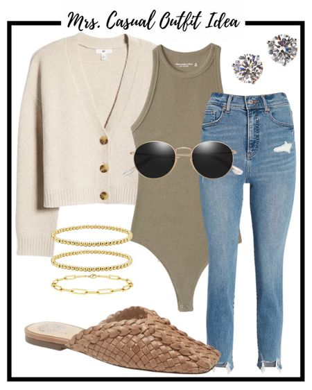 Fall outfit idea. Cardigan bodysuit and mom jeans.   #LTKsalealert #LTKunder50 #LTKunder100