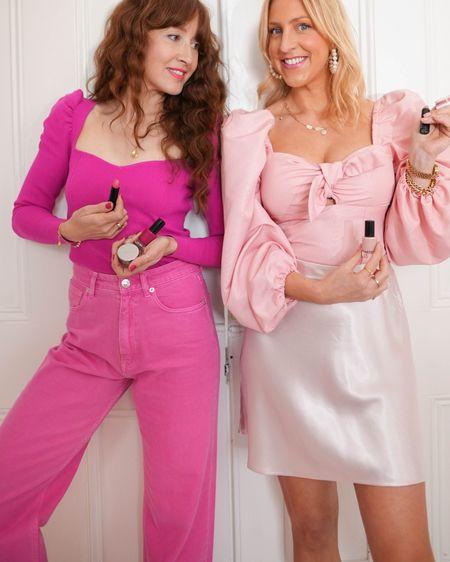 @liketoknow.it #liketkit http://liketk.it/3fPN3 pink corset puff sleeve top, Asos sweetheart neckline top, pink jeans, pink satin skirt, red short sleeve cardigan