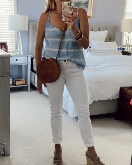 Tie dye cami, white jeans, wedges. Summer outfit. Casual summer outfit. #LTKstyletip http://liketk.it/3h9Au #liketkit @liketoknow.it #LTKunder100 Shop my daily looks by following me on the LIKEtoKNOW.it shopping app.