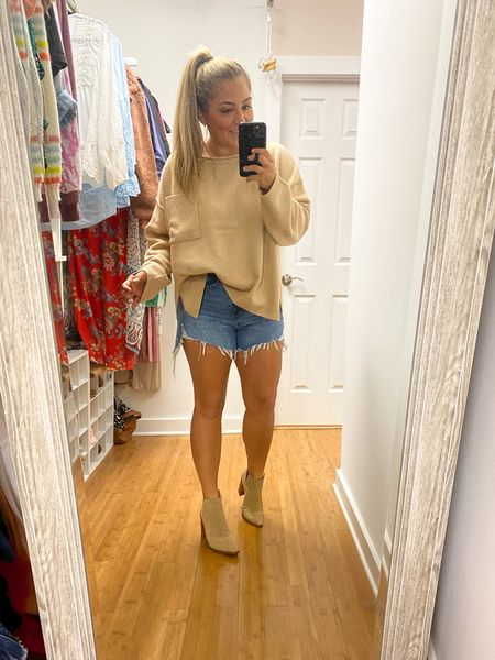 Fall oversized sweater Neutral sweater Solid sweater Nude booties  Fall outfit ideas Florida fall outfits East coast blogger Pink lily boutique ambassador Nordstrom women's shoes  #LTKshoecrush #LTKsalealert #LTKunder100