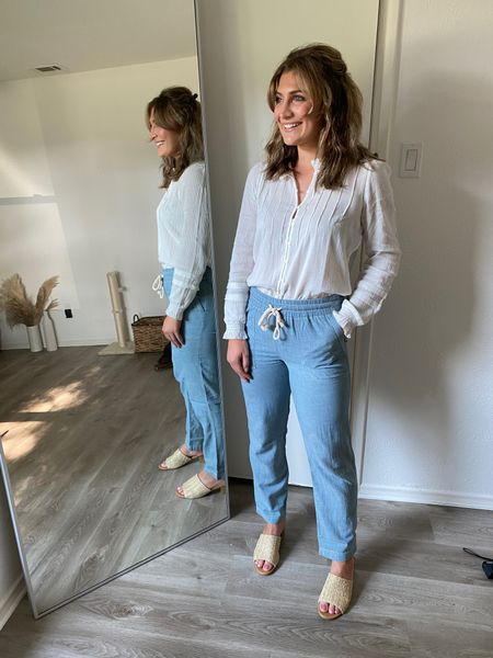 Classic pieces from Faherty! Love these denim alternatives- size small! And this white top is amazing for work! Use code AUDREY20 for 20% off!   #LTKunder100 #LTKstyletip
