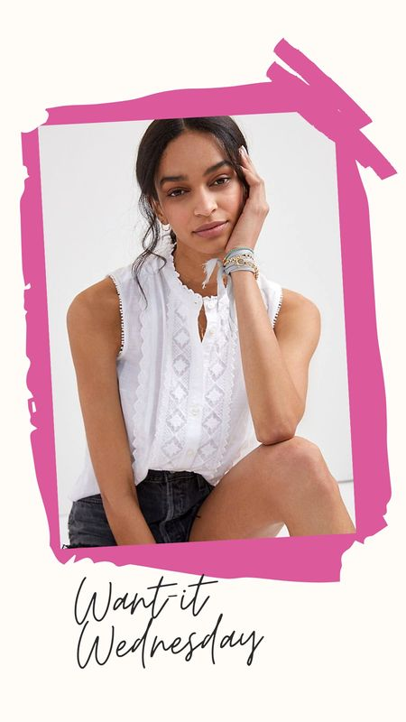 Is this lacy, white top perfection or what? I am in love with all things white and adore how the lace and eyelet details and trim give this top such a girl look. Comes in 2 other colors as well but the white is my personal fave. http://liketk.it/3cYQA @liketoknow.it #liketkit #LTKunder100 Download the LIKEtoKNOW.it app to shop this pic via screenshot