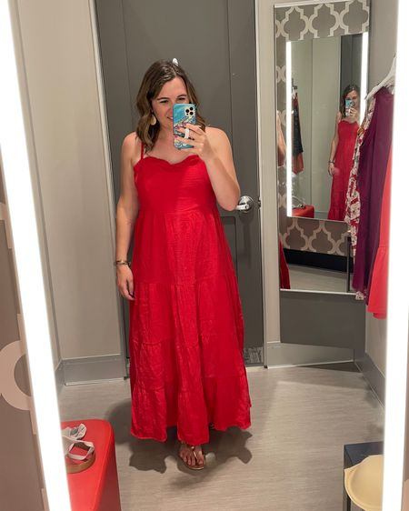 This red #LTKunder50 #LTKsalealert #LTKcurves maxi dress was super cute and would great for the Fourth of July!    http://liketk.it/3hmL6 #liketkit @liketoknow.it