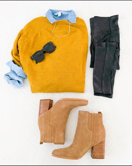 Fall outfit        Fall outfit , leggings outfit , thanksgiving outfit , spanx , faux leather leggings , #ltkseasonal #ltkshoecrush  #LTKworkwear #LTKstyletip #LTKunder100