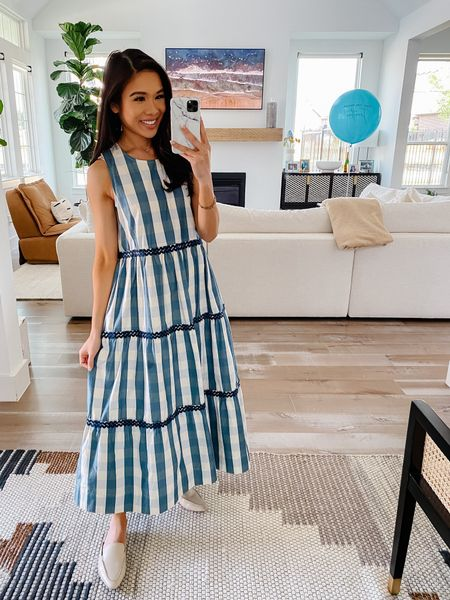 Super comfortable three tiered maxi dress perfect for fall! Wearing size XXS and fits true to size. Love this pattern and the flowy fit. Styled with my favorite leather mules but also linking sneakers you can pair with it. All part of the Madewell sale!  #LTKunder100 #LTKstyletip #LTKSale