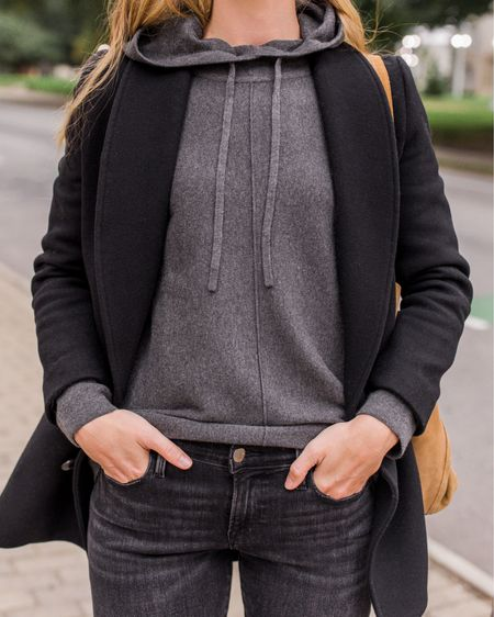 My sweater hoodie comes in 4 colors and is made with a very soft viscose/polyester blend that makes it wearable all day and look more refined than your average hoodie. Wearing size S. True size in jeans. Coat is old Sezane; two similar linked.  #bananarepublic #hoodie #sweaterhoodie #casualfalloutfits #falloutfitscasual #fallcasualoutfits