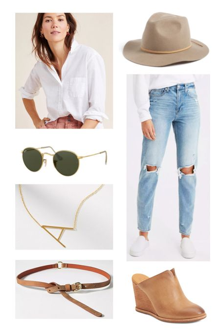 """Wool fedora just tells me that the weekend is going to be an adventure! Ripped mom jeans, boyfriend white blouse, aviators, and can we just say, """"Hell YES!"""" to the wedge mules!  #LTKstyletip #StayHomeWithLTK #LTKshoecrush"""