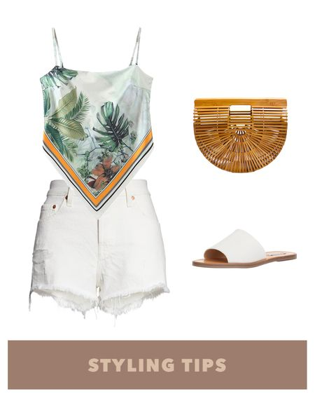 A tie back bandana top paired with high waisted denim shorts, straw bag and slide sandals makes a perfect beach vacation outfit or to style with your spring outfit. Shop my daily looks and finds by following me on the LIKEtoKNOW.it shopping app http://liketk.it/3cJ0Q #liketkit @liketoknow.it l l #LTKcurves #LTKsalealert #LTKstyletip #LTKtravel #LTKunder50 #LTKshoecrush #LTKitbag #LTKunder100 # #LTKSeasonal   Beach vacation   summer fashion   amazon finds   amazon fashion   vacation outfits   vacation   beach outfit    Nordstrom sale   Abercrombie   Abercrombie & Fitch   shorts outfit women   high waisted shorts   denim shorts   Abercrombie shorts   petite style   petite fashion   bags on sale   bags under $100   sandals casual   tie back top  