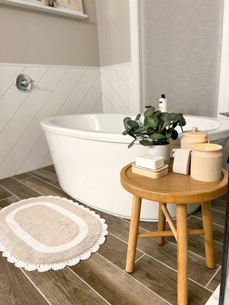 Farmhouse bathroom decor - love these functional + aesthetic canisters! I used one for my bath salt and the other as a candle holder! #targethome #hearthandhand #magnoliadecor  #LTKhome #LTKunder50