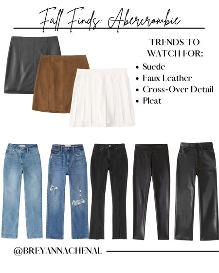 Abercrombie fall denim & pants   Faux leather leggings, leather pants, crossover jeans, ripped jeans, mom jeans, pleated skirt, Suede skirt, thanksgiving outfit   #LTKSale #LTKstyletip #LTKunder50