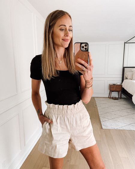 Comfy and chic summer outfit! Bodysuit is #amazonfind (wearing size small) and shorts are express (run big) #amazonfashion #summeroutfit   #LTKstyletip #LTKunder50 #LTKunder100