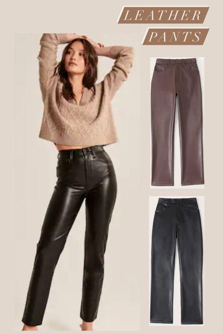 Abercrombie & Fitch leather pants. Black leather pants. Brown leather pants. Women's fall fashion.  #LTKSale #LTKSeasonal #LTKsalealert
