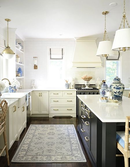 Fall kitchen home decor in elegant blue and white and simple seasonal touches.  #LTKstyletip #LTKSeasonal #LTKhome