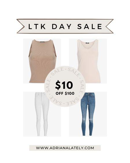 Express, white jeans, Fourth of July outfit, muscle tank, bodysuits http://liketk.it/3hjt5 #liketkit @liketoknow.it #LTKDay #LTKsalealert
