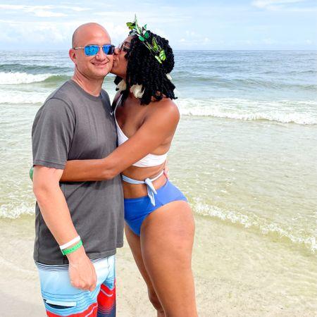 Beach summer style: Color block one sleeve swimsuit + Floral earrings + Butterfly headband + Men's Oakley sunglasses http://liketk.it/3jsj8 #liketkit @liketoknow.it #LTKmens #LTKunder100 #LTKswim