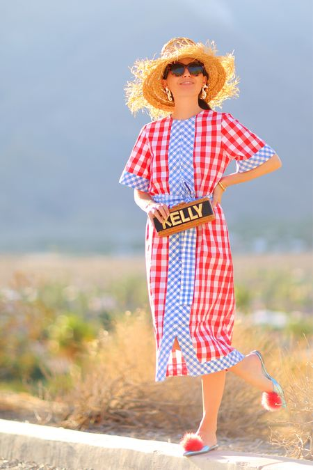 Love this limited edition gingham caftan dress! Only a few sizes left. I'm wearing an XS but normally wear a Small so I'd recommend sizing down one size.  Also this custom name bag is 😍.  #ginghamdress #caftandress #caftan #rattanbag #wickerbag #vintageglamour   #LTKshoecrush #LTKitbag #LTKstyletip
