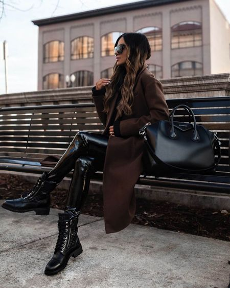 Casual fall outfit  Brown coat  Commando Vinyl Leggings  Givenchy Antigona Handbag  Black combat boots   #LTKshoecrush #LTKunder100 #LTKstyletip