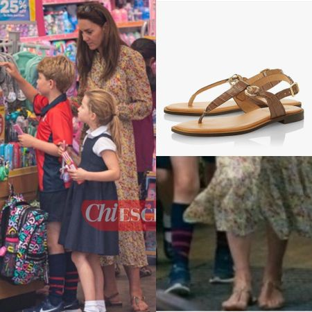 Kate wearing Dune Lenore saddle trim toe post sandals #flats   #LTKkids #LTKfamily