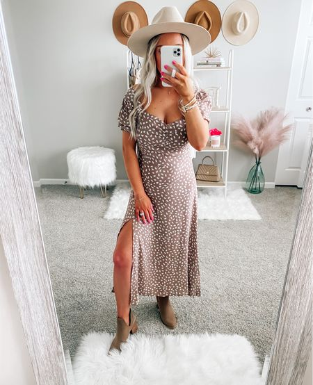 CODE: BRITTANYH for 15% off 🤍 It runs small so I sized up to a 4  . . . Fall dress, dress, petal and pup, booties, hat, fall hat, flat brim hat, fall outfit, fall style, boots, fall, midi dress     #LTKunder50 #LTKstyletip #LTKSeasonal