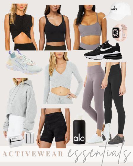 Activewear essentials: lululemon align leggings, Alo airbrush leggings, Nike sneakers, lululemon biker shorts, workout clothes, Alo sweatshirt  #LTKSeasonal #LTKunder100 #LTKfit