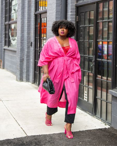 Turn your swimsuit coverup aka #plussize  kaftan into a dress and wear it for date night or dinner during a beach vacation ! Ps this kimono is old from @HM but I did link similar #LTKStyletip #LTKSwim #BlackGirlMagic #BlackGirlStyle  #LTKfamily #LTKSeasonal #LTKcurves