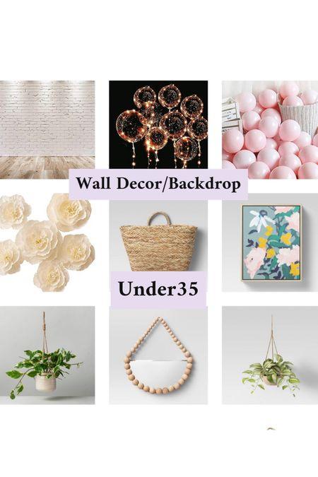 Hanging plant/wall decor/living room decor/home decor/ mirror/flowers/ brick wall backdrop/amazon finds  #LTKhome #LTKunder50 #LTKSeasonal