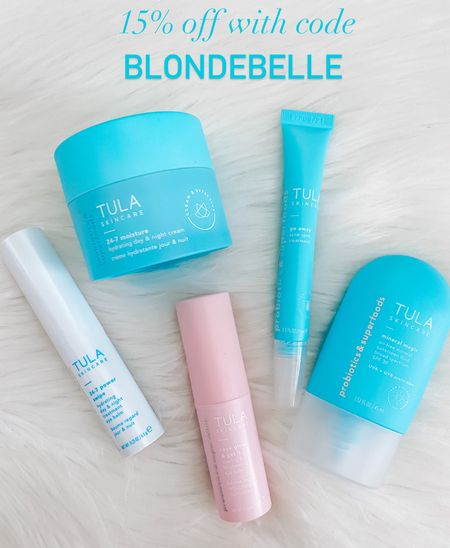 Use code: BLONDEBELLE for 15% off  . . . Tula, skincare, skincare routine, acne spot treatment, moisturizer, eye cream     #LTKbeauty #LTKunder50