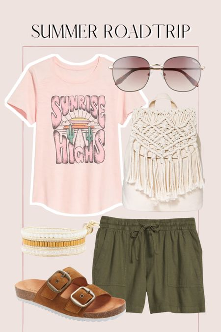 Summer road trip outfit, graphic tee, macrame, fringe bag, summer outfit, casual outfit, old navy finds http://liketk.it/3ihjq @liketoknow.it #liketkit #LTKunder50 #LTKunder100