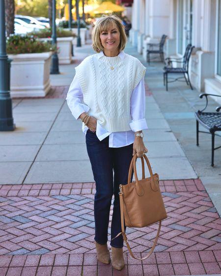 Cream sweater vest 50% off! Love these slimming girlfriend jeans. Perfect neutral tote for fall and winter.   #LTKunder50 #LTKSeasonal #LTKsalealert