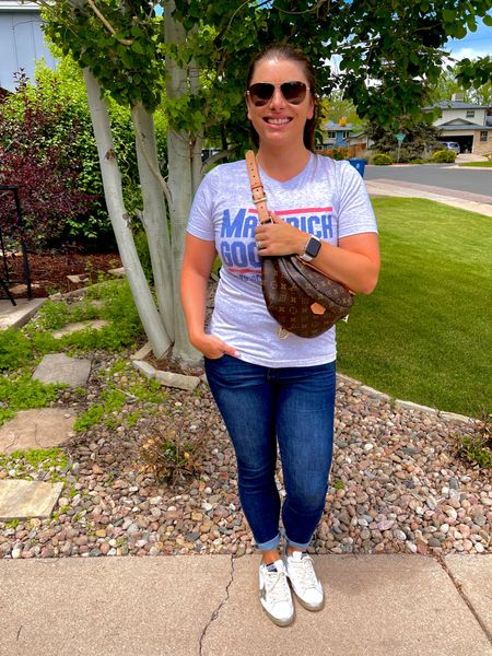 Talk to me goose. Back to work after some much needed time off and staying comfy in one of my favorite tees and the shoes I picked up in Vegas for my birthday 🥳 (thanks babe!). . It's a three day work week and then off to enjoy the water park opening for the season!   #LTKunder100 #LTKshoecrush #LTKworkwear