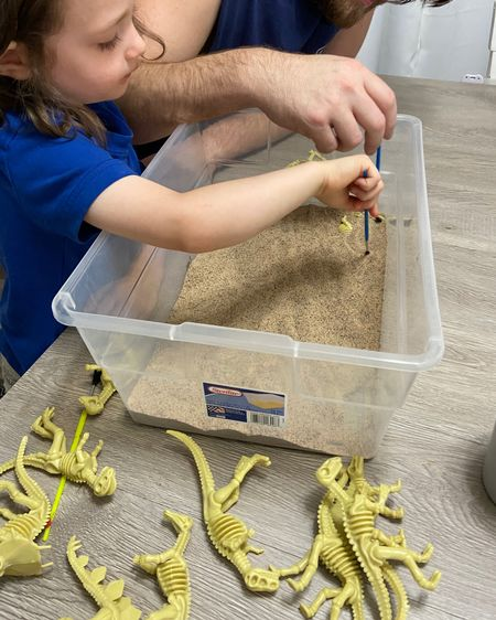 Digging for dinosaurs 🦕  Easy Indoor activities for kids toddler activities toddler indoor activities home quarantine activities for toddlers @liketoknow.it #liketkit http://liketk.it/2Ne0F @liketoknow.it.family @liketoknow.it.home #StayHomeWithLTK #LTKkids #LTKfamily