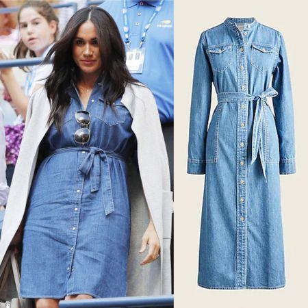 Meghan denim dress dupe #wrap #midi #ootd #casual #nyc   #LTKstyletip