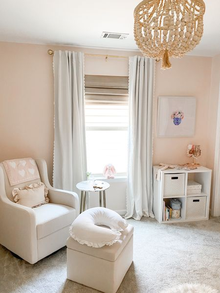 Josie's nursery is coming along! Hung up the blackout nursery curtains today   #nurserydecor #pinknursery #girlnursery #nursery #pinkdecor #kidsroom   #LTKhome #LTKkids