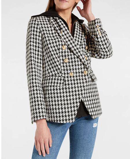 ✨🚨 Herringbone Double Breasted Blazer With Built In Hoodie🚨✨ | Under $200 | Blazer | Workwear | Houndstooth Blazer | Business Casual | Express | Work Outfit | Fall Fashion | Fall Blazer | Back to School | Office Outfit | Fall Outerwear |   #LTKworkwear #LTKsalealert #LTKstyletip