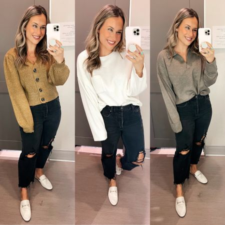 Target finds! These sweaters are all 20% off right now, perfect tops for fall! My black jeans are also on sale and my white mikes are an amazon find   #LTKunder50 #LTKshoecrush #LTKsalealert