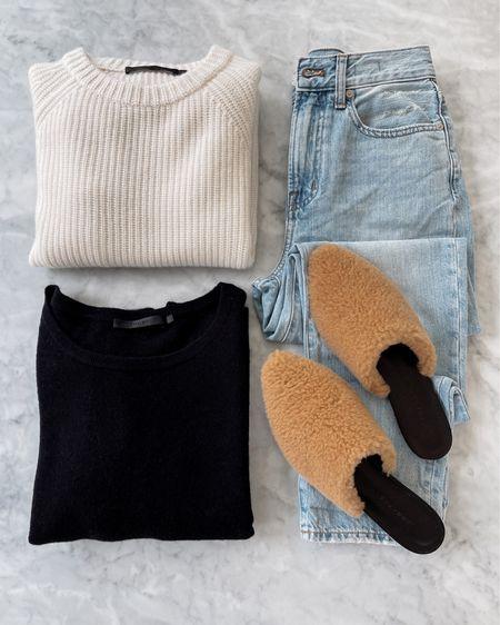 Jenni Kayne sweater & shearling mules use code JACKSON15 for a discount   #LTKunder100 #LTKshoecrush #LTKstyletip