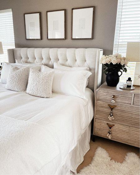 Master bedroom, white bedding, neutral home decor, neutral accessories, StylinAylinHome   #LTKunder100 #LTKhome #LTKstyletip
