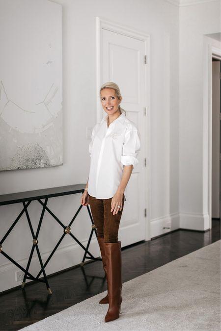 Krystal Schlegel Mytheresa fall style / Ralph Lauren white button down / polo Ralph Lauren leggings / Paris Texas boots / knee high boots / brown boots / fall outfits #fallstyle #krystalschlegel #falloutfits #brownboots #paristexasboots #kneehighboots   #LTKstyletip #LTKshoecrush #LTKworkwear