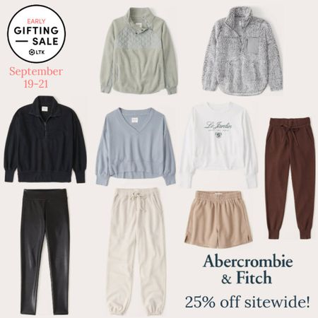 Today is the last day of the LTK Early Gifting Sale! All of your loungewear favorites and bestsellers from Abercrombie & Fitch are on sale for 25% off through September 21st, only in the LTK app!  . Loungewear fall fashion fall outfit joggers sweatpants sweater shorts track shorts crewneck sweatshirt pullover faux leather leggings   #LTKsalealert #LTKSale #LTKunder50