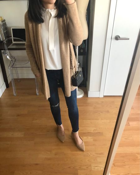 I love a good neutral outfit. The top is size xxs regular since the arm holes were snug in my usual size XSP. The cardigan is older but I sized down to xxsp since it has a very oversized fit. The exact jeans I linked to are pictured and I took my usual size 25 petite. @liketoknow.it http://liketk.it/2zPxr #LTKsalealert #LTKshoecrush #LTKstyletip #LTKunder50 #liketkit #loveloft LOFT