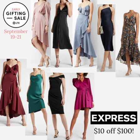 The LTK Early Gifting Sale ends tomorrow! All of your wedding guest dress favorites and bestsellers from Express are on sale for $10 off $100 through September 21st, only in the LTK app!  . Fall wedding guest dress fall dress midi dress   #LTKunder100 #LTKSale #LTKsalealert
