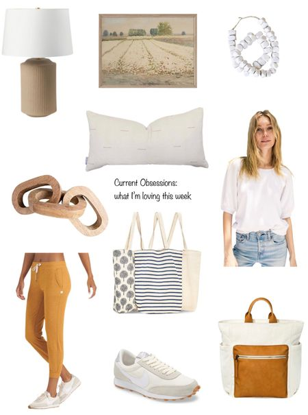 Current Obsessions what I'm loving this week. Etsy pillows and artwork, target affordable table lamp, the cutest joggers, adorable and reusable grocery shopping bags, living room decor.
