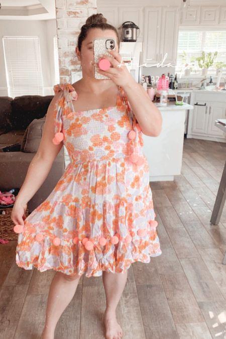 Sundress Pippa dress spring floral bright color dress Pom Poms travel outfit beach outfit coverup   #LTKSeasonal #LTKswim #LTKtravel