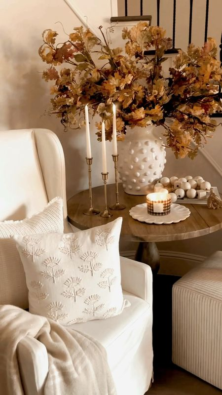 Pillows and throw and candle coming soon to the MTH collection at Walmart!  Fall entryway decor, home decor, pottery barn, stairway, pillow, wingback chair, candle   #LTKHoliday #LTKhome #LTKSeasonal