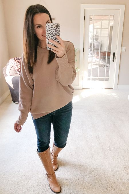 We're heading to go do some shopping together today. We want to update our outdoor Christmas decorations so that's the mission! I may have a few other things on my list too. 😉 I've been wearing this oversized chenille sweatshirt a lot lately, it's so soft and the fit is amazing! It comes in ten colors and fits tts. Also got some new Rockstar jeans, these ones are button fly and have a distressed hem. My go-to jeans are definitely @oldnavy Rockstars!   http://liketk.it/31Kwf #liketkit @liketoknow.it   Shop my daily looks by following me on the LIKEtoKNOW.it shopping app