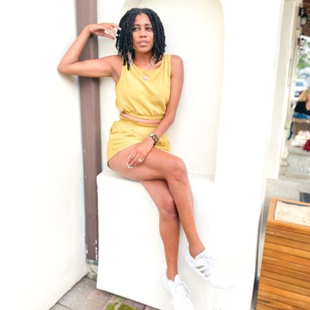 Two piece sleeveless crop set + Adidas tennis shoes  http://liketk.it/3j6uc #liketkit @liketoknow.it #LTKunder100 #LTKstyletip #LTKshoecrush