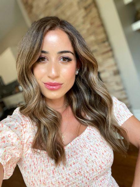 Lip color in strawberry summer puff sleeve blouse in xs foundation in light   #LTKunder100 #LTKbeauty #LTKunder50